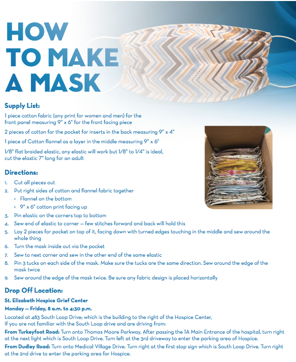 St. Elizabeth Foundation supports hospital's COVID-19 efforts; offers instructions on making masks, too